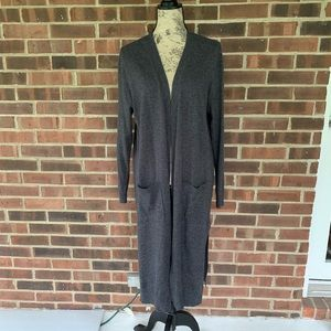 Matty M long open front grey cardigan